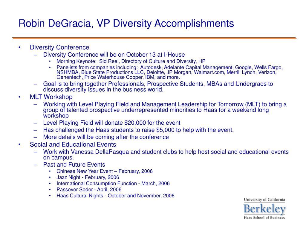 Robin DeGracia, VP Diversity Accomplishments