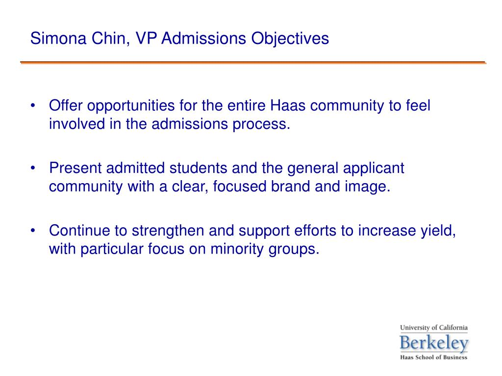 Simona Chin, VP Admissions Objectives