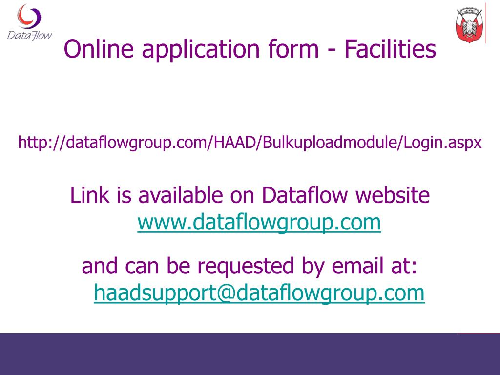 Online application form - Facilities