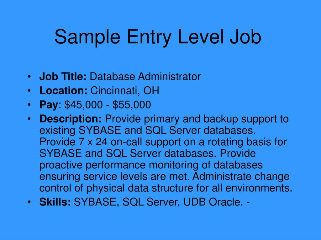 Sample Entry Level Job
