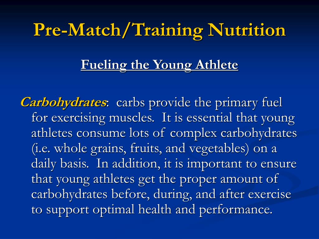 Pre-Match/Training Nutrition