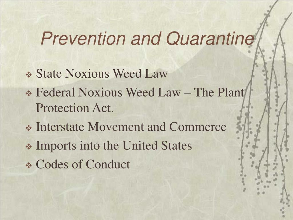Prevention and Quarantine