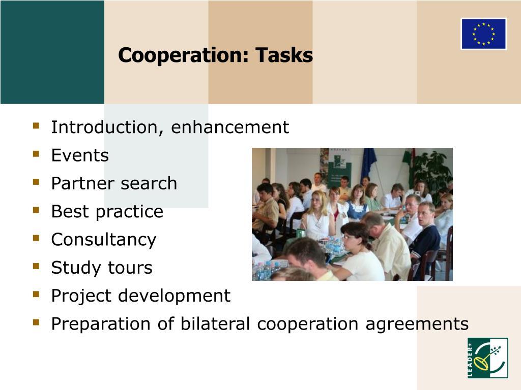Cooperation: Tasks