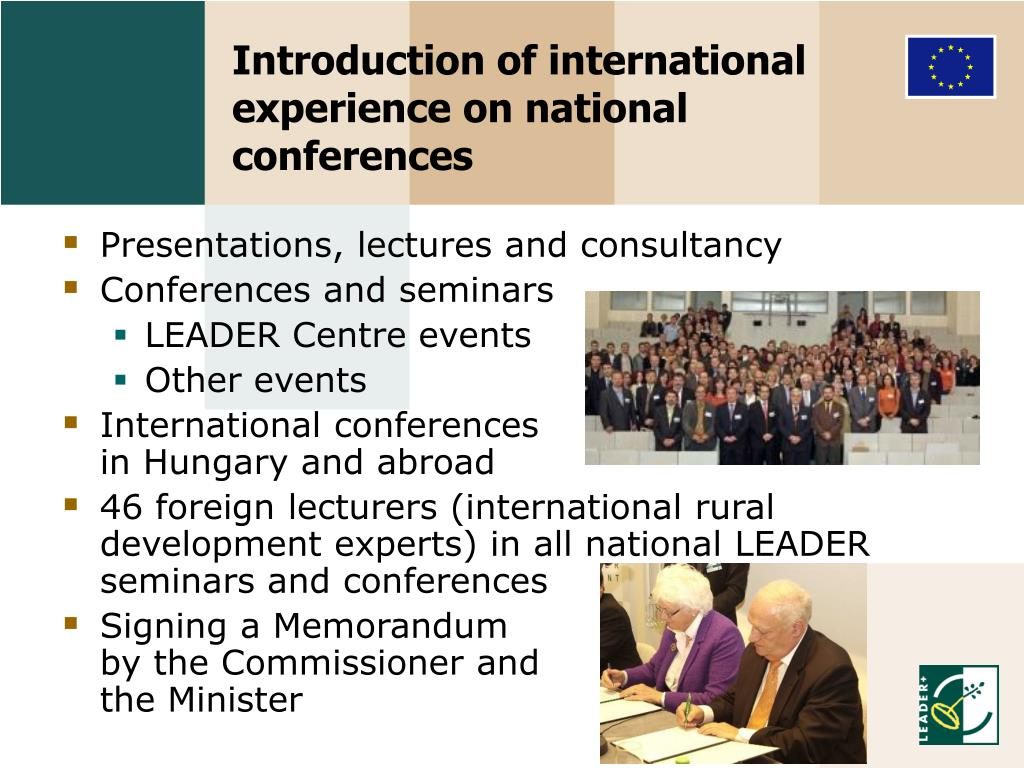 Introduction of international experience on national conferences