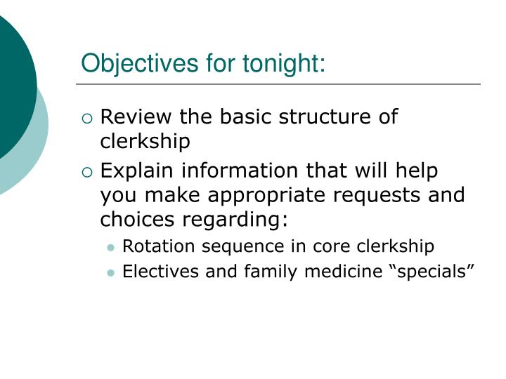 Objectives for tonight