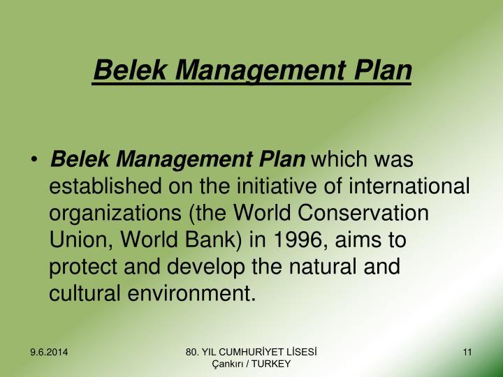 Belek Management Plan