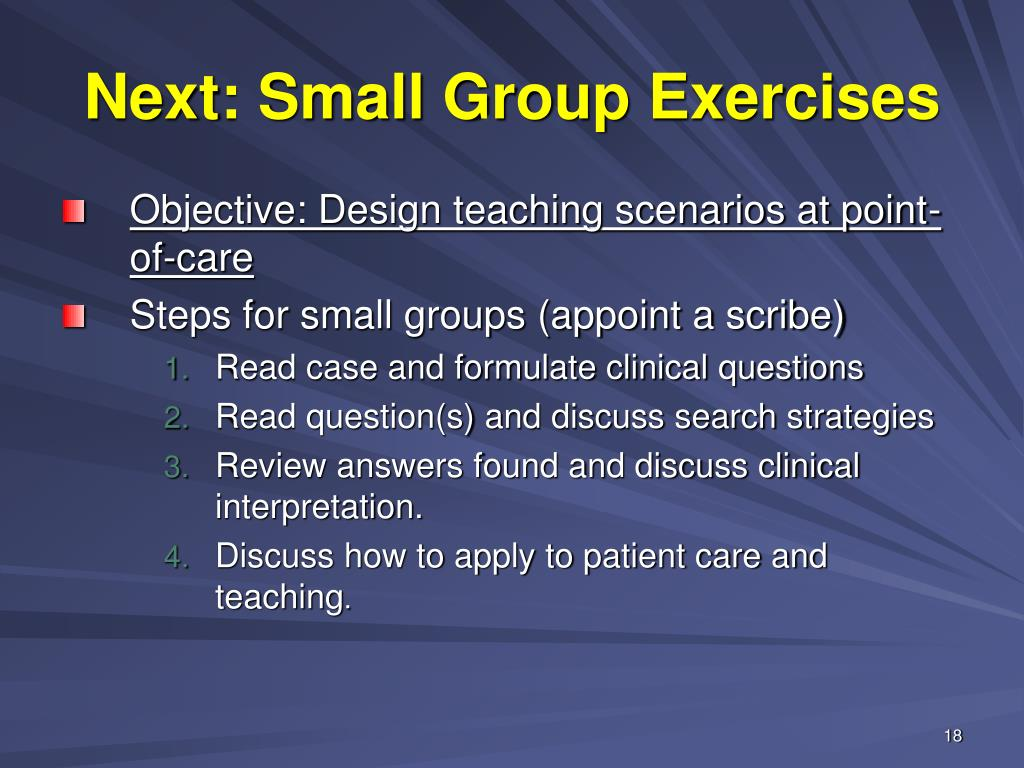 Next: Small Group Exercises