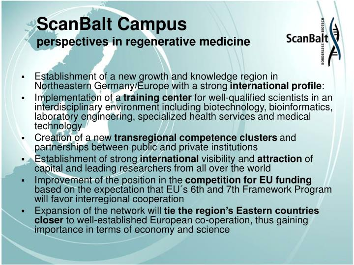 Scanbalt campus perspectives in regenerative medicine