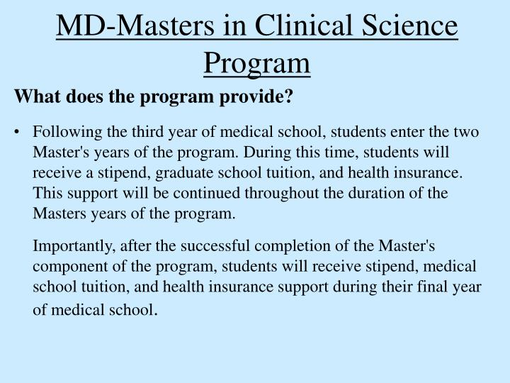 MD-Masters in Clinical Science Program
