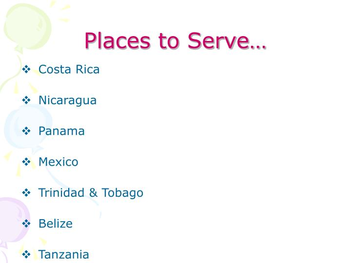Places to serve