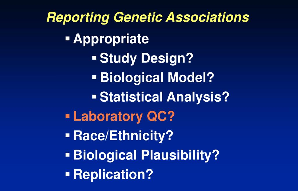 Reporting Genetic Associations