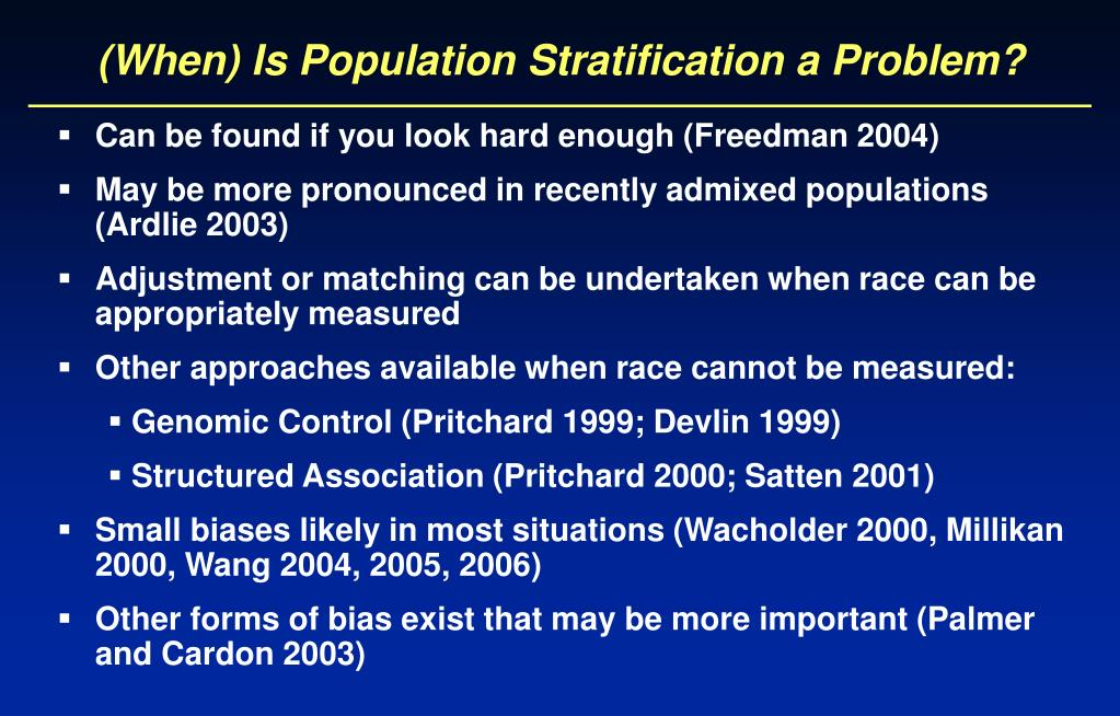 (When) Is Population Stratification a Problem?