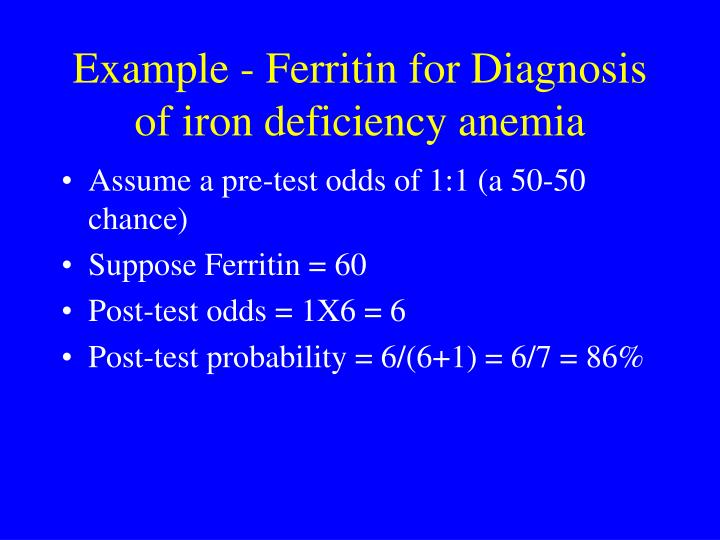 Example - Ferritin for Diagnosis of iron deficiency anemia