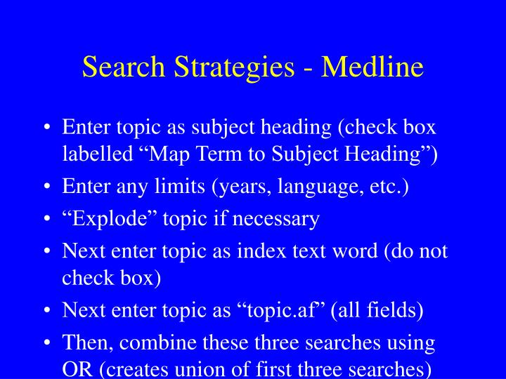 Search Strategies - Medline
