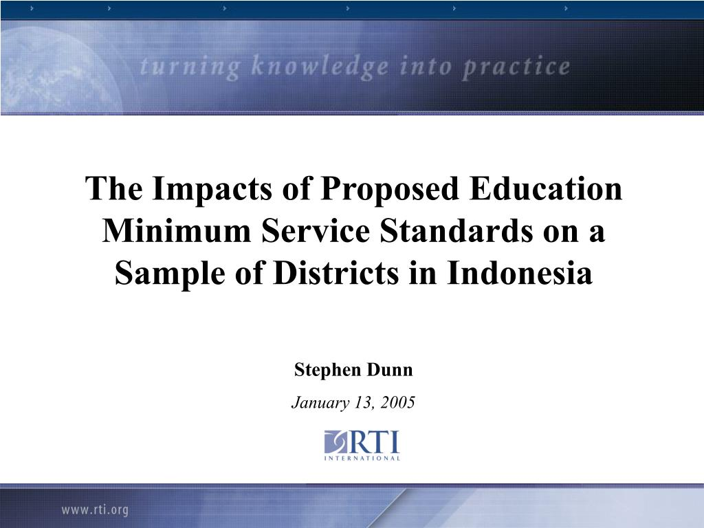 The Impacts of Proposed Education Minimum Service Standards on a Sample of Districts in Indonesia