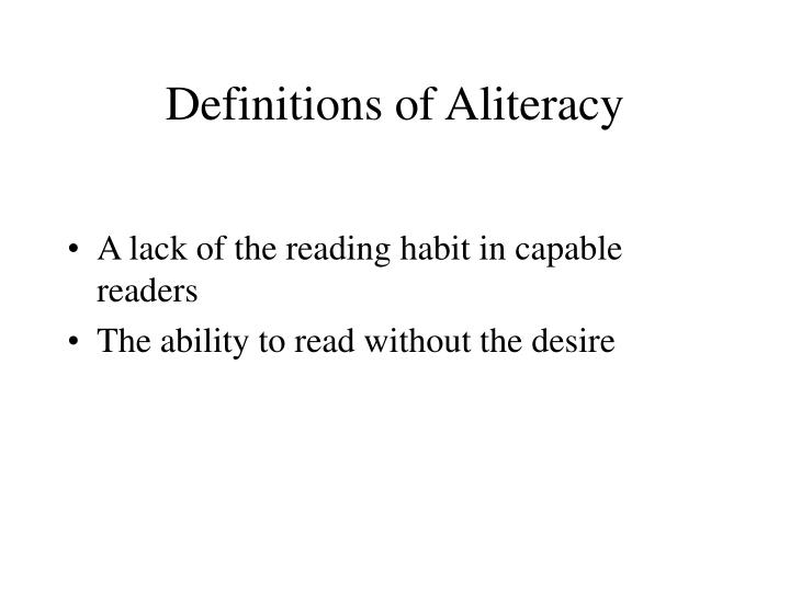 Definitions of Aliteracy