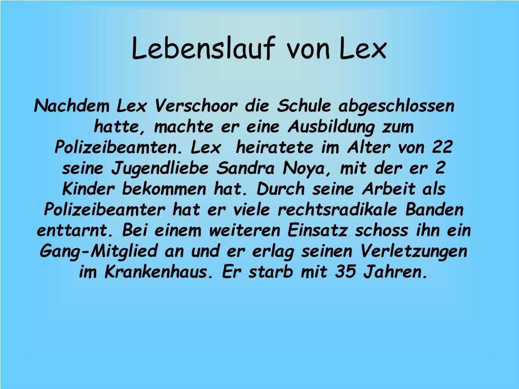 Lebenslauf von Lex