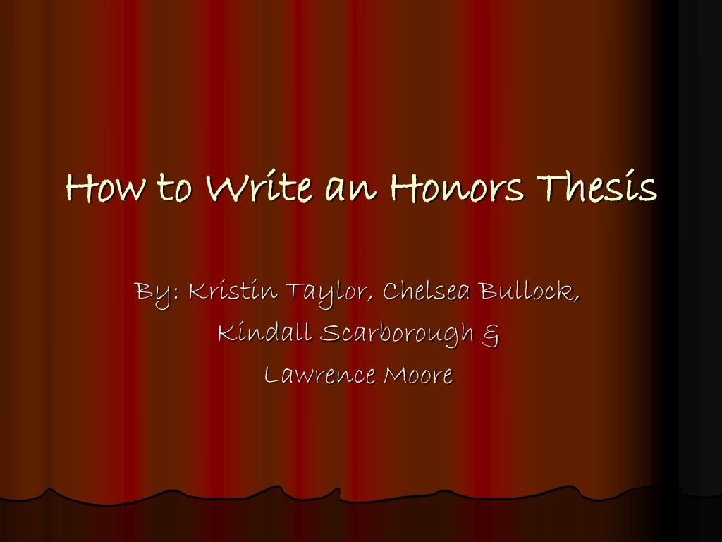 writing honors thesis