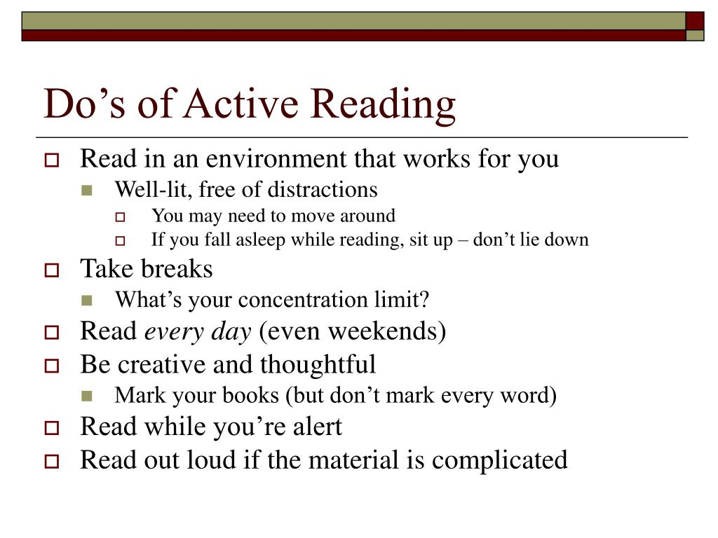 Do's of Active Reading