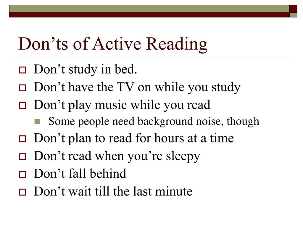 Don'ts of Active Reading