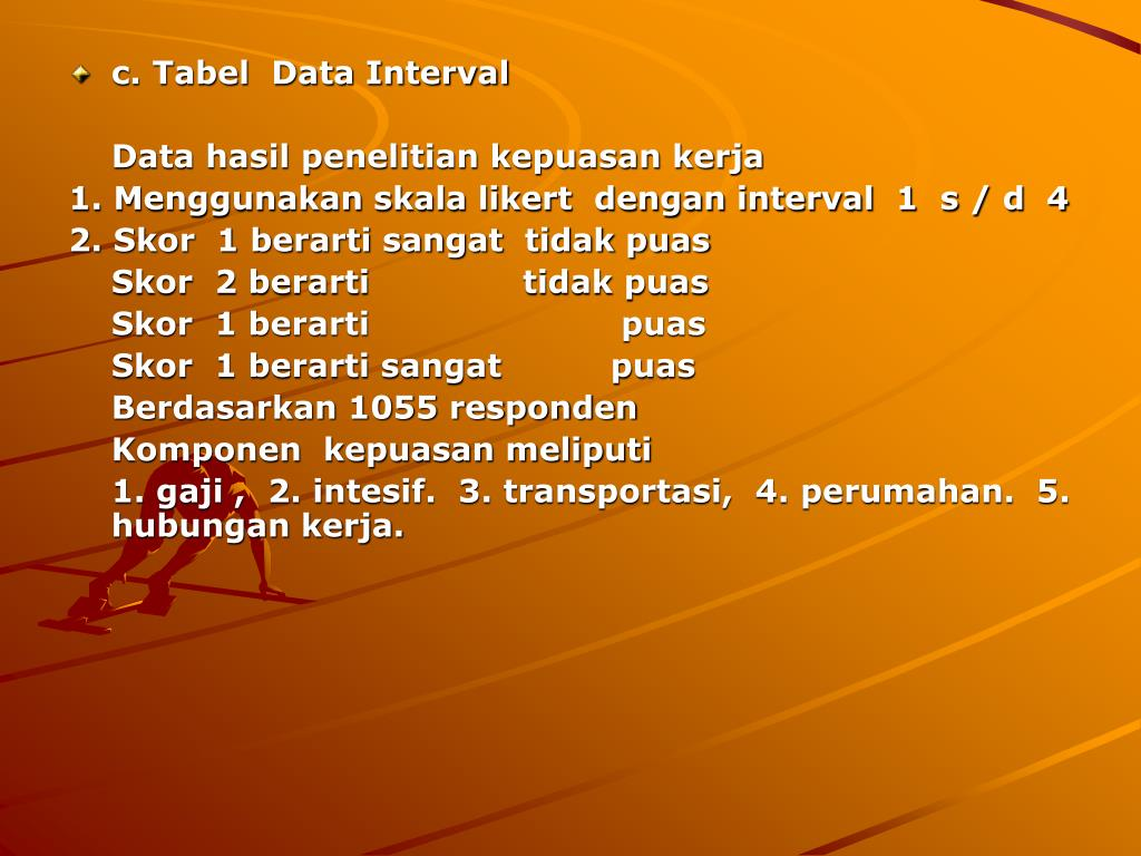 c. Tabel  Data Interval