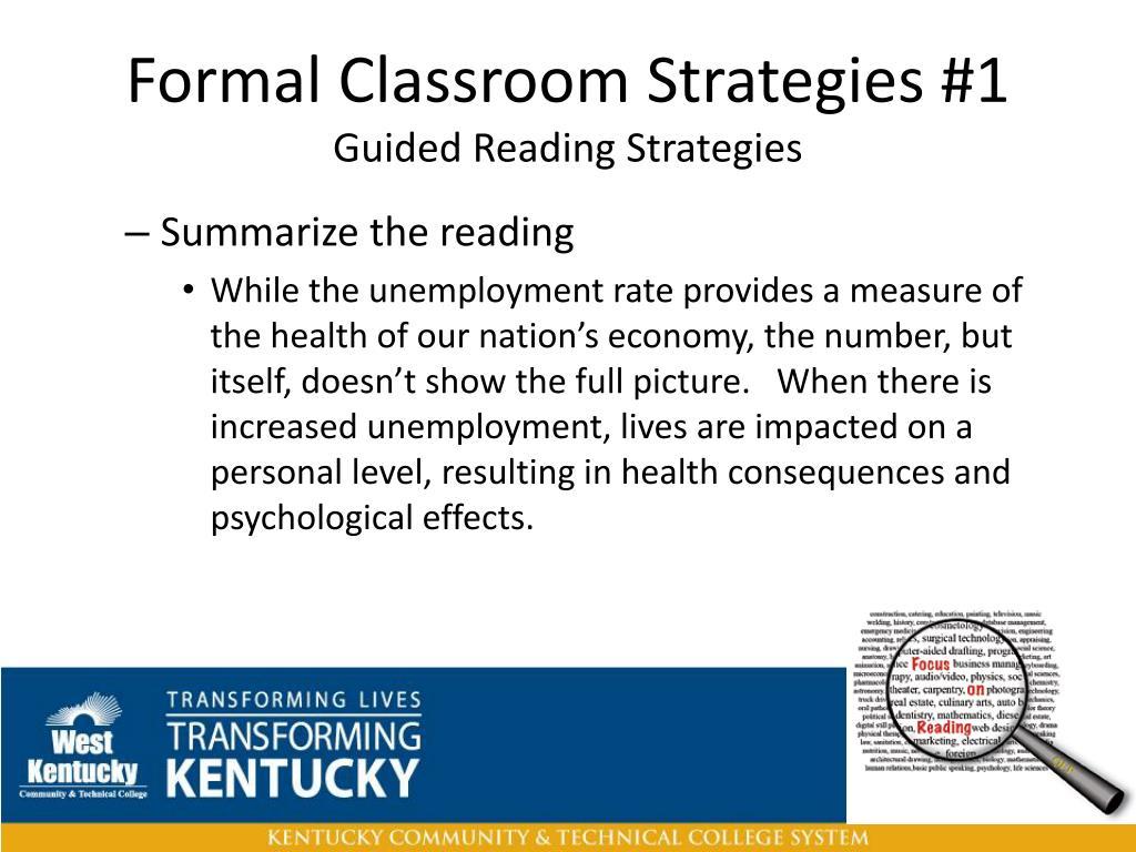 Formal Classroom Strategies #1