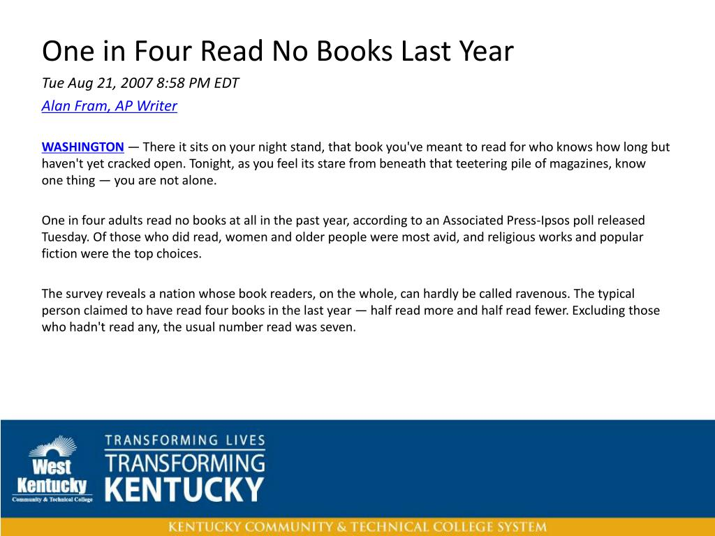 One in Four Read No Books Last Year