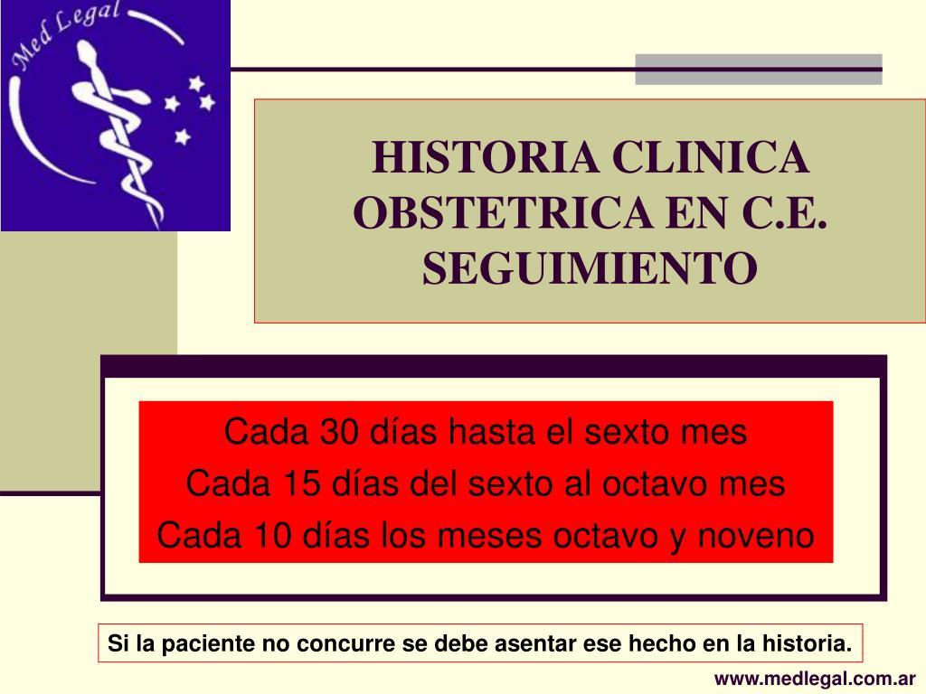 HISTORIA CLINICA OBSTETRICA EN C.E.