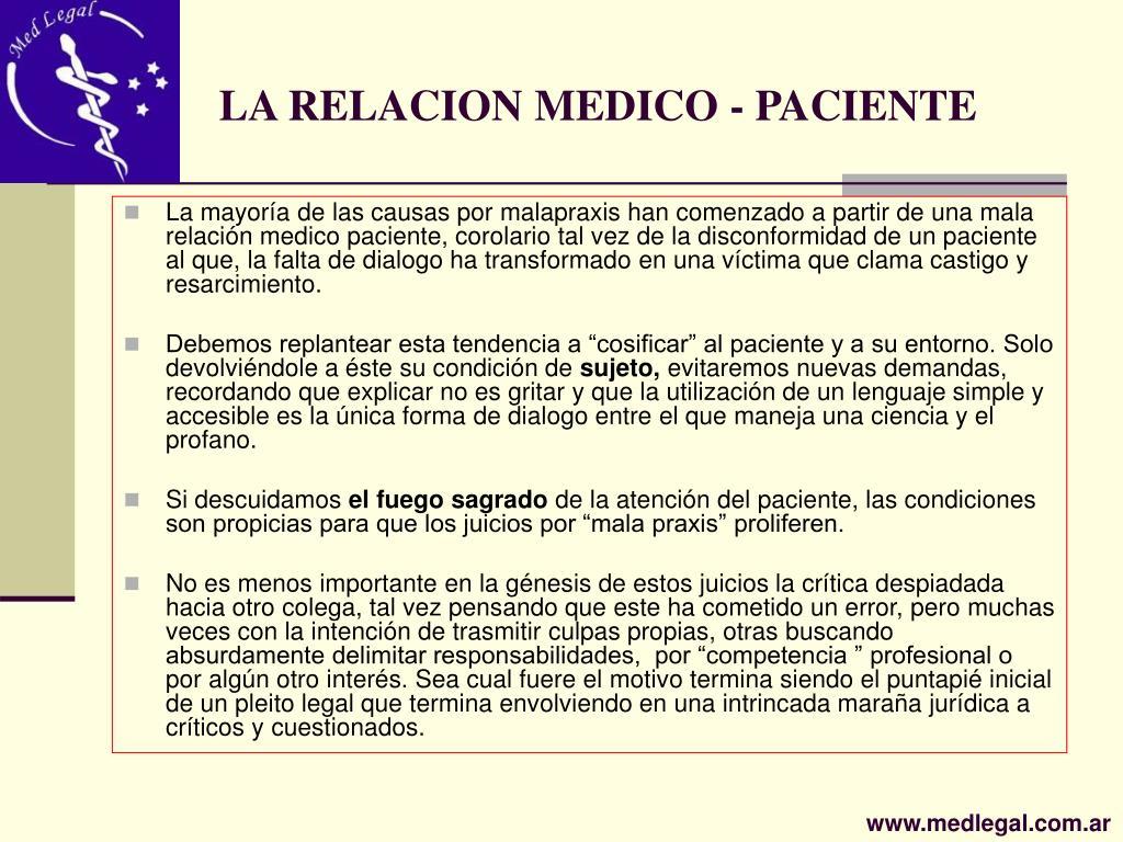 LA RELACION MEDICO - PACIENTE