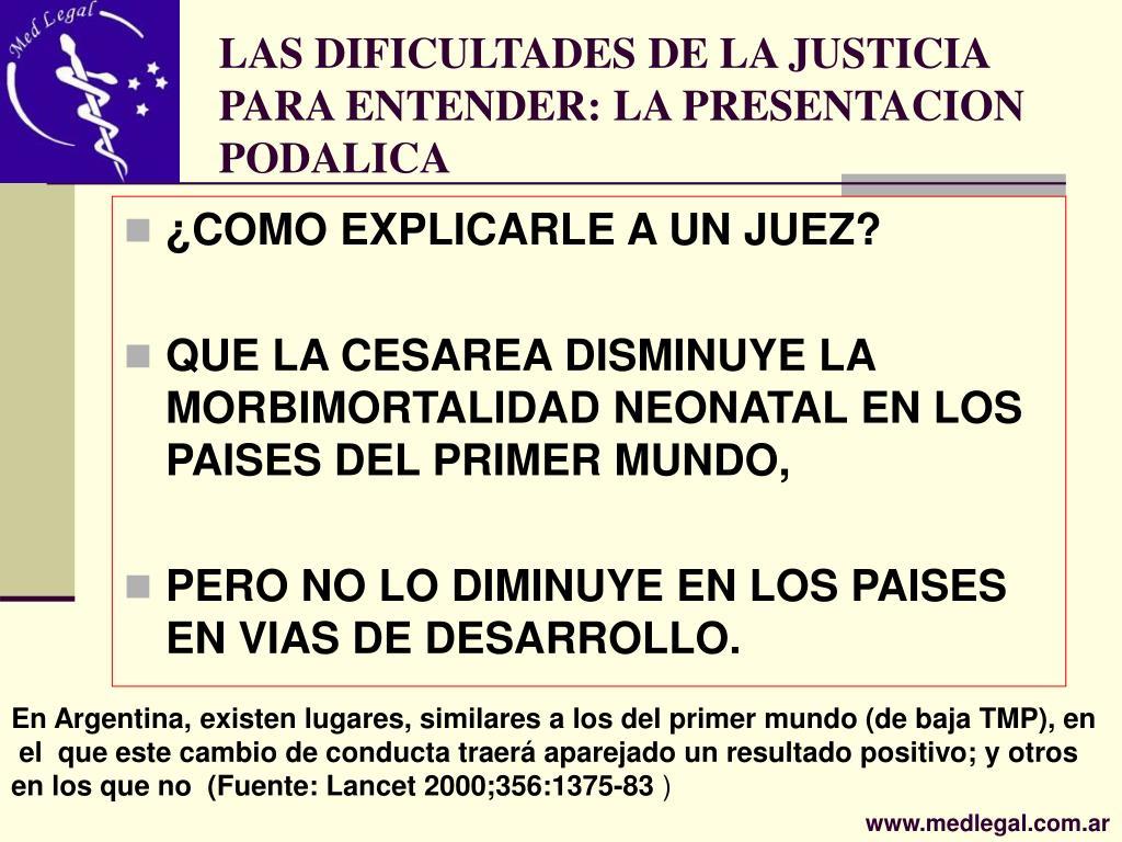 LAS DIFICULTADES DE LA JUSTICIA PARA ENTENDER: LA PRESENTACION PODALICA