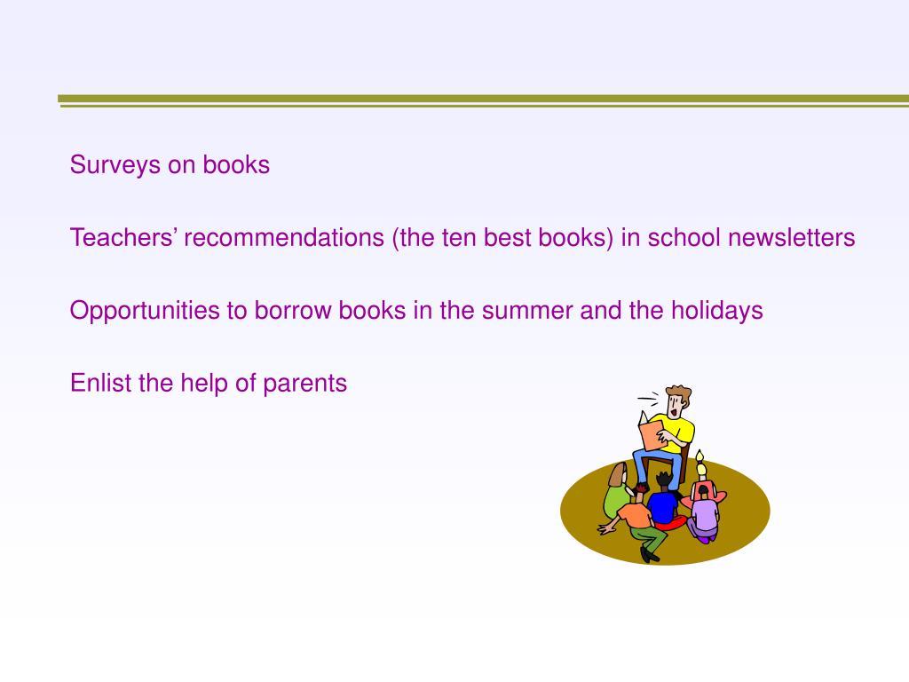 Surveys on books