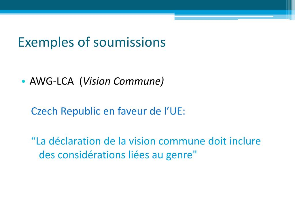 Exemples of soumissions