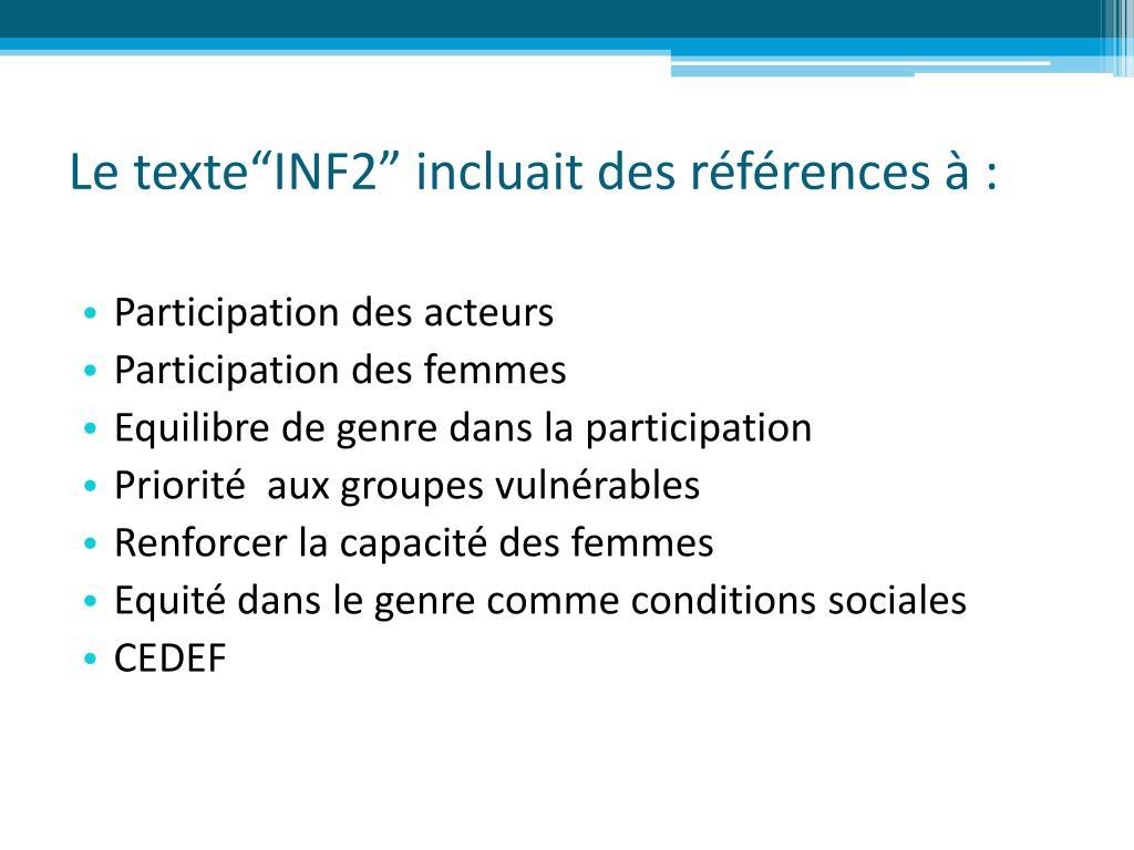 """Le texte""""INF2"""" incluait des références à :"""