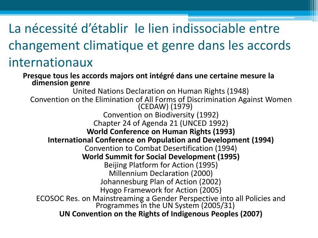 La nécessité d'établir  le lien indissociable entre changement climatique et genre dans les accords internationaux