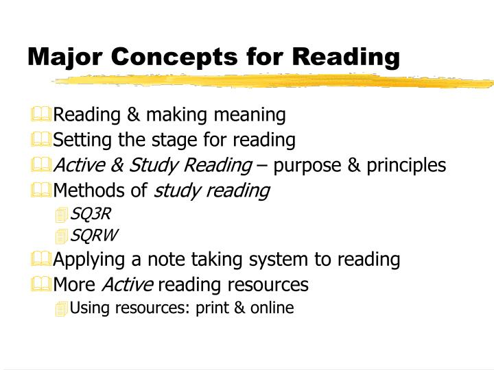 Major concepts for reading
