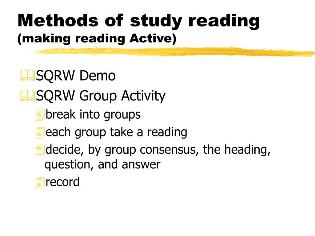 Methods of study reading