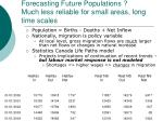forecasting future populations much less reliable for small areas long time scales