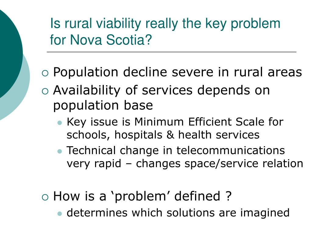 Is rural viability really the key problem for Nova Scotia?