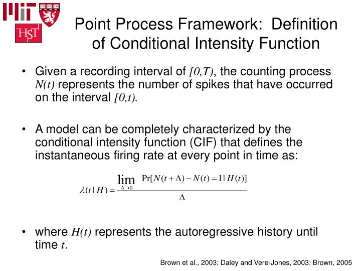 Point Process Framework:  Definition of Conditional Intensity Function