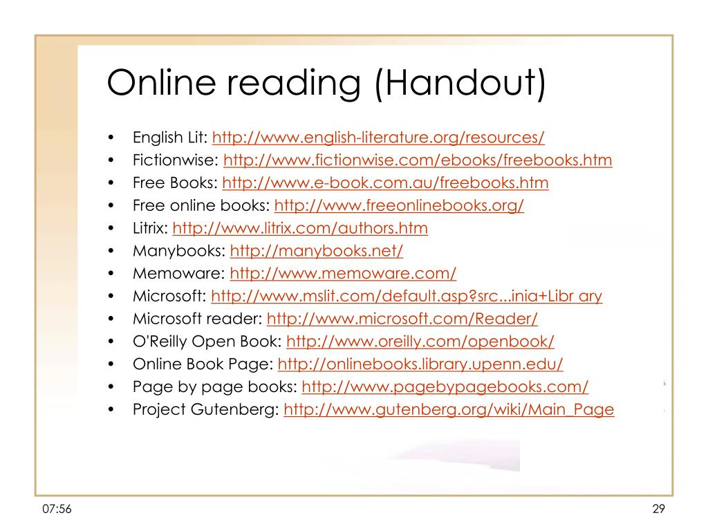 Online reading (Handout)