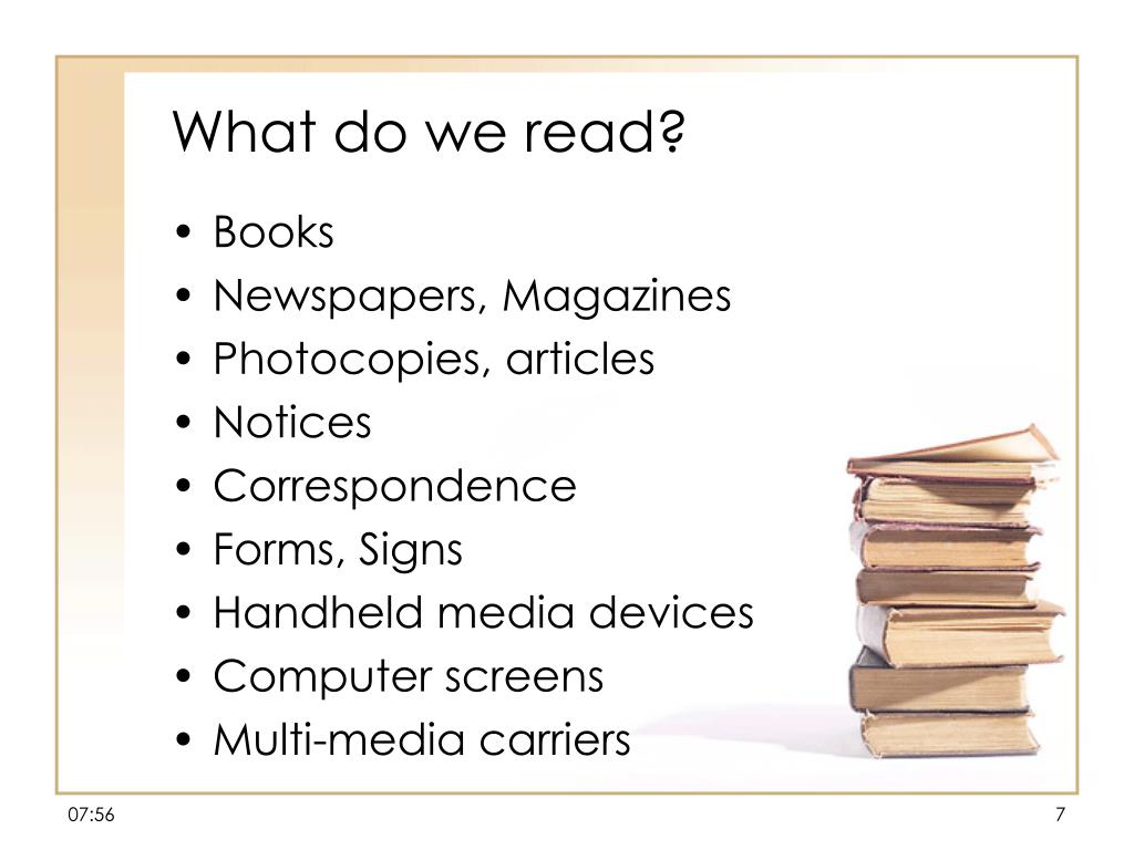 What do we read?