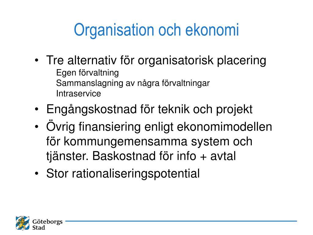 Organisation och ekonomi