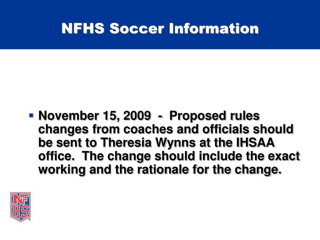NFHS Soccer Information