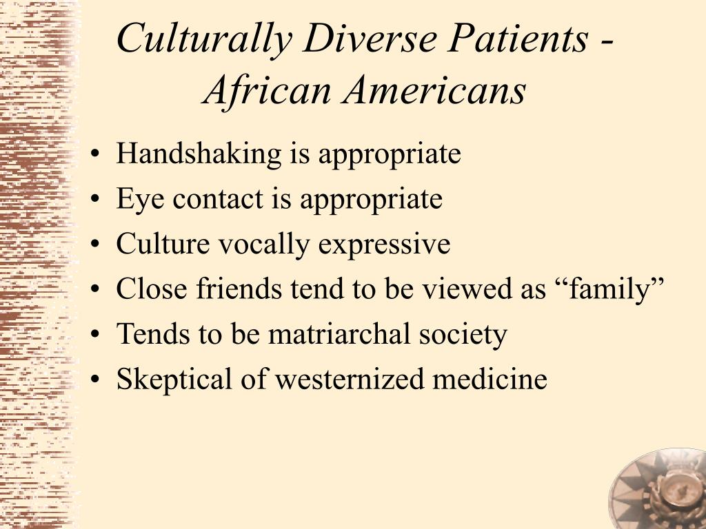 Culturally Diverse Patients - African Americans
