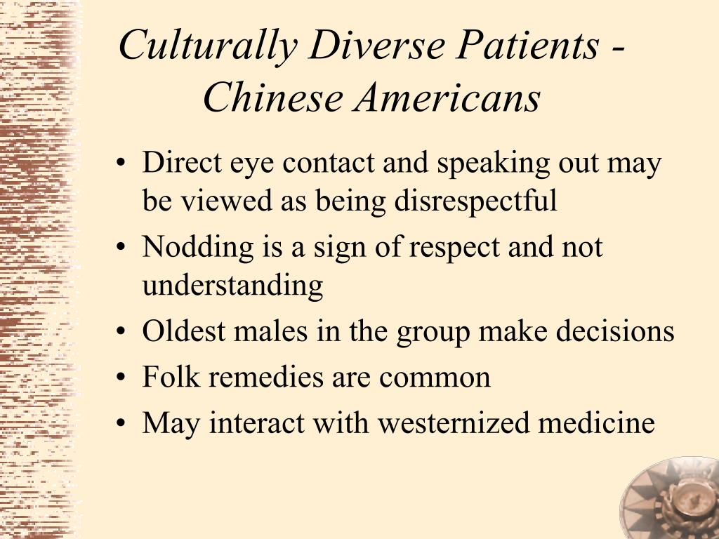 Culturally Diverse Patients - Chinese Americans