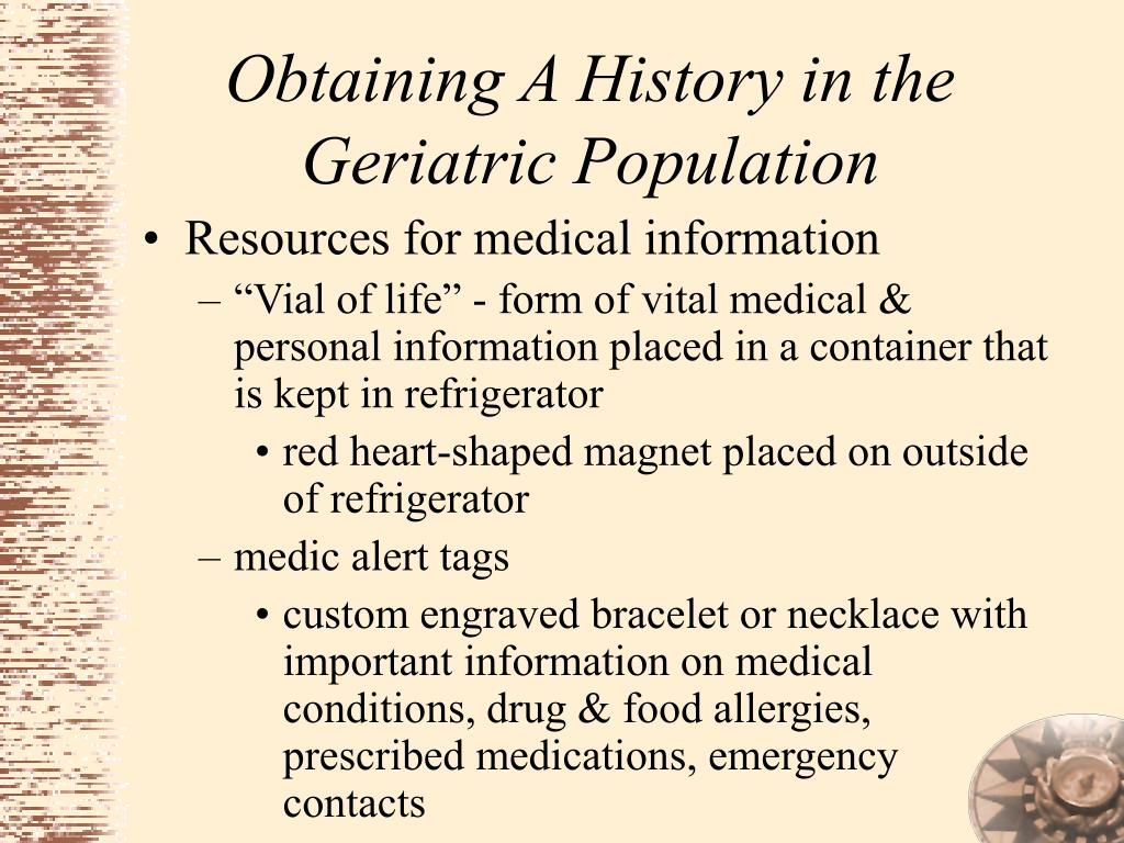 Obtaining A History in the Geriatric Population