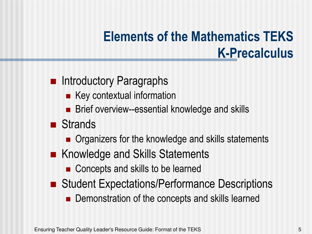 Elements of the Mathematics TEKS
