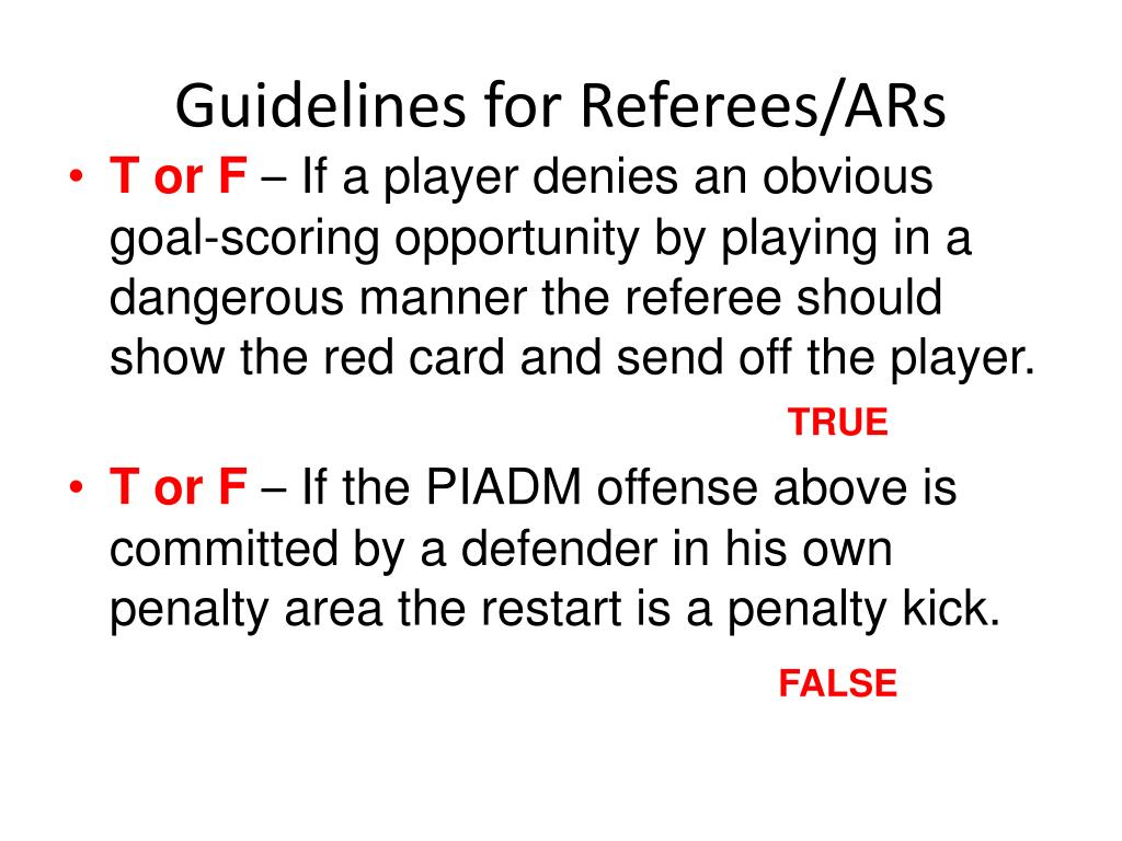 Guidelines for Referees/ARs