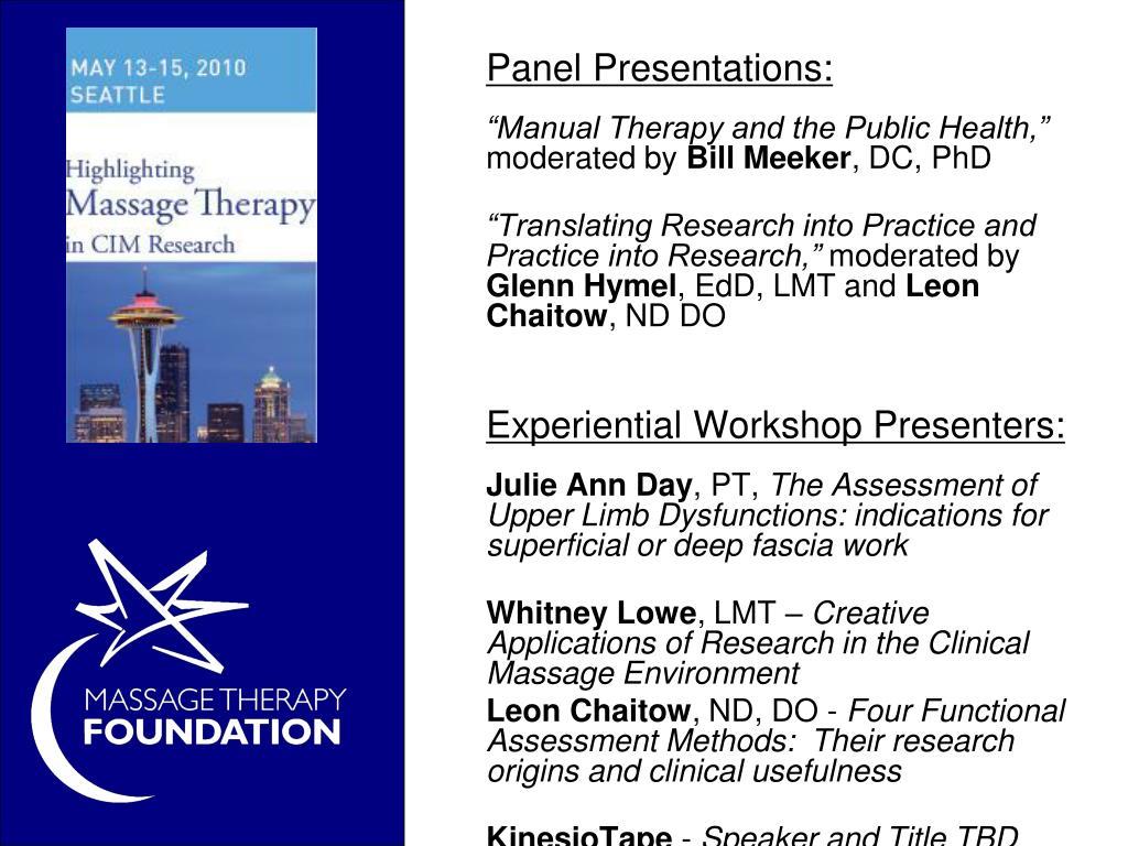 Panel Presentations: