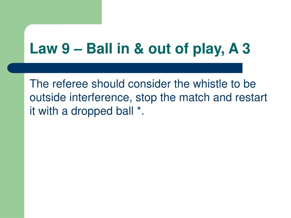 Law 9 – Ball in & out of play, A 3